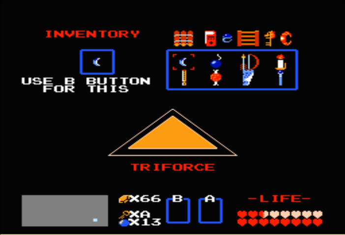 If you press the START button, Link's Inventory will be seen in the Subscreen.