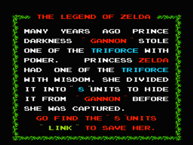 Once upon a time in a land called Hyrule... The Legend Of Zelda.